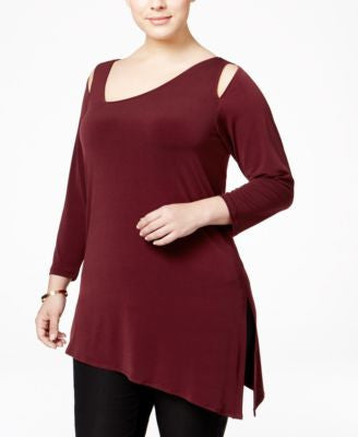 Alfani Plus Size Cold-Shoulder Asymmetric Top, Only at Vogily