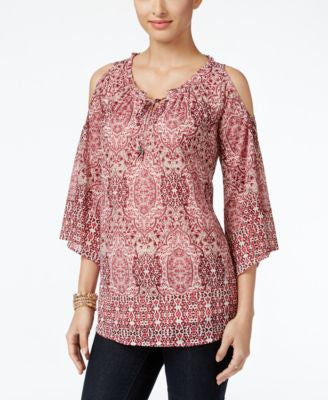 Style & Co. Printed Cold-Shoulder Top, Only at Vogily