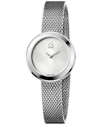 Calvin Klein Women's Swiss Firm Stainless Steel Mesh Bracelet Watch 29mm K3N23126