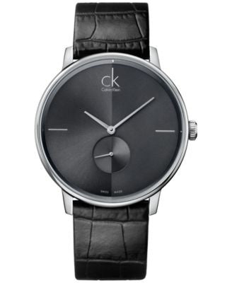 Calvin Klein Men's Swiss Accent Black Leather Strap Watch 41mm K2Y211C3