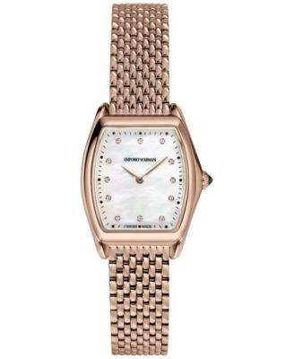 Emporio Armani Men's Swiss Automatic Classic Diamond Accent Rose Gold-Tone Stainless Steel Mesh Brac