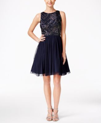 Adrianna Papell Beaded Bodice Mesh Fit & Flare Dress