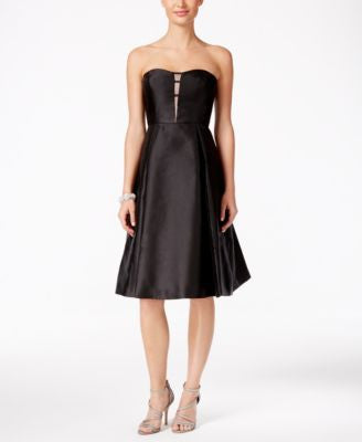 Adrianna Papell Strapless Illusion Fit & Flare Dress