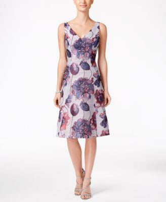 Adrianna Papell Embellished Floral-Print Fit & Flare Dress