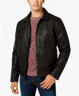 Calvin Klein Men's Faux-Leather Bomber Jacket