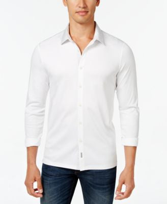 Calvin Klein Men's Contrast-Collar Long-Sleeve Shirt