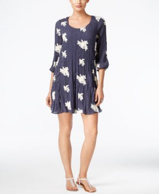ECI Denim Floral-Print Crinkle Shift Dress