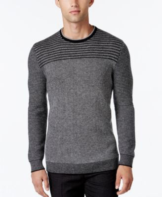 Alfani Collection Men's Stripe Rack-Stitch Sweater, Classic Fit