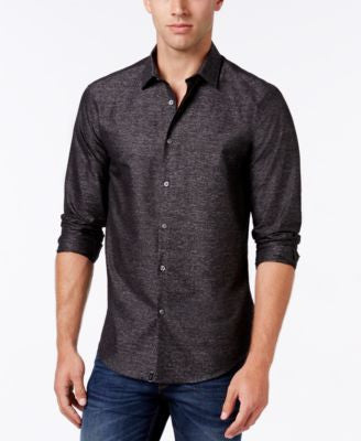 Alfani Collection Men's Textured Heather Long-Sleeve Shirt, Classic Fit