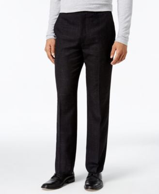 Alfani Collection Men's Classic-Fit Textured Crosshatch Flat-Front Pants