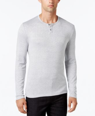 Alfani Collection Men's Heather Long-Sleeve Henley, Classic Fit