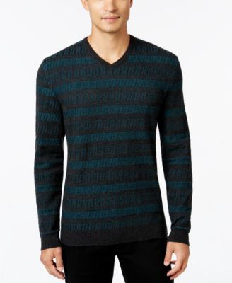 Alfani Collection Men's Chevron Stripe V-Neck Sweater, Classic Fit