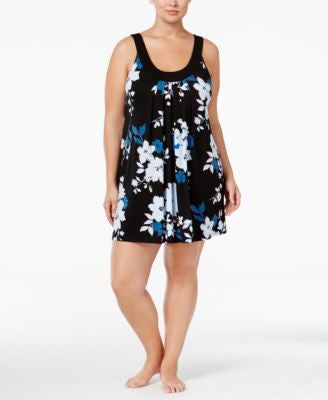 Alfani Plus Size U-Neck Printed Chemise, Only at Vogily