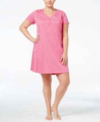 Charter Club Plus Size Henley-Style Sleepshirt, Only at Vogily