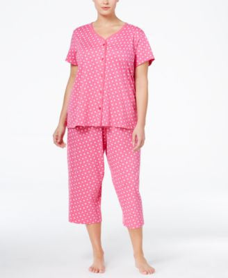 Charter Club Plus Size Loop-Trimmed Top and Cropped Pants Pajama Set, Only at Vogily