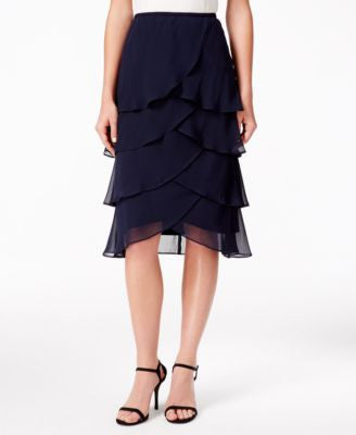 MSK Tiered Chiffon Tulip Skirt