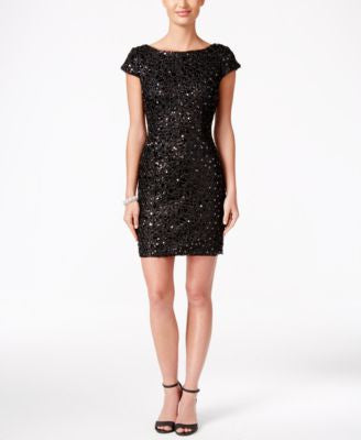Adrianna Papell Sequined Lace Sheath Dress