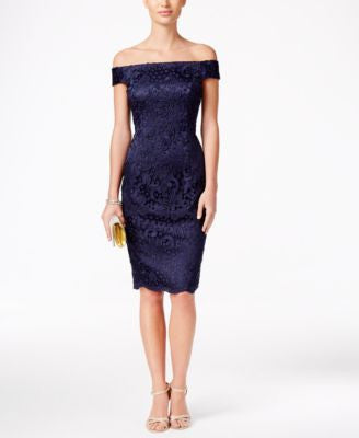 Adrianna Papell Lace Off-The-Shoulder Sheath Dress