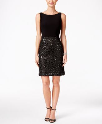 Adrianna Papell Sequined Mixed-Media Sheath Dress