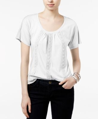 Tommy Hilfiger Delphine Crochet-Trim Top, Only at Vogily