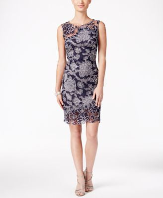 Tadashi Shoji Floral Embroidered Sheath Dress