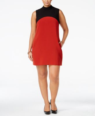 Alfani Plus Size Colorblocked Shift Dress, Only at Vogily