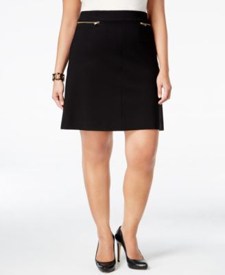 Alfani Plus Size Zip-Trim A-Line Skirt, Only at Vogily