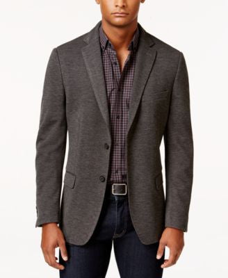 Calvin Klein Men's Slim-Fit Charcoal Tic-Pattern Jacket