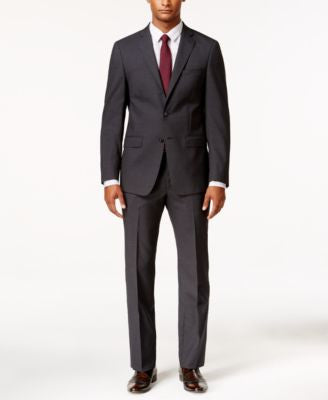 Calvin Klein Men's Extra Slim-Fit Charcoal Grid Suit
