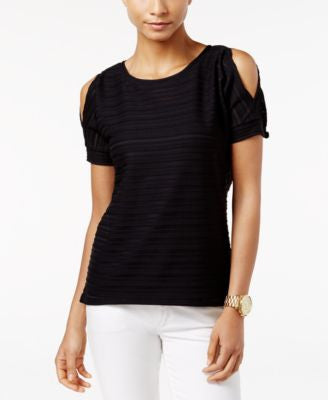MICHAEL Michael Kors Petite High-Low Cold-Shoulder Top