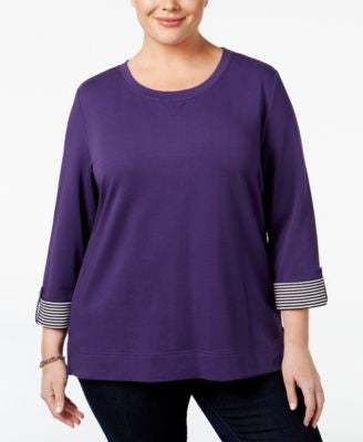 Karen Scott Plus Size Tab-Sleeve Sweatshirt, Only at Vogily