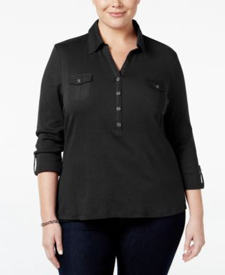 Karen Scott Plus Size Roll-Tab Polo Top, Only at Vogily