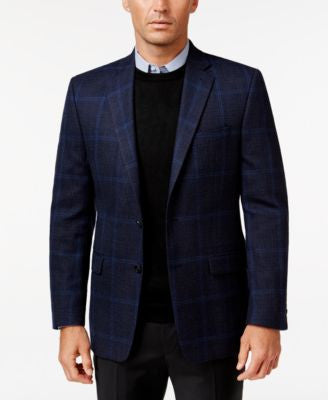 Lauren Ralph Lauren Men's Classic-Fit Blue Windowpane Sport Coat