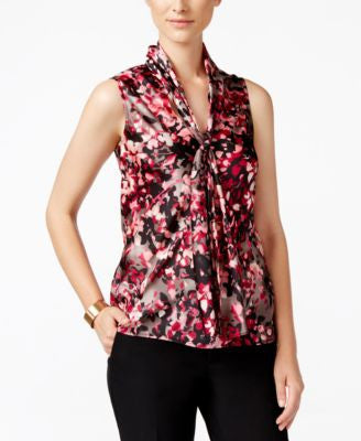 Nine West Printed Tie-Neck Top