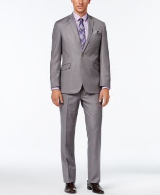 Kenneth Cole Reaction Men's Slim-Fit Medium Gray Textured Suit