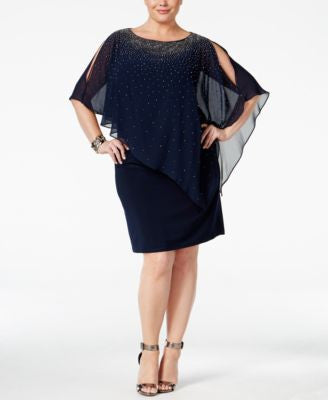 Xscape Plus Size Beaded Cold-Shoulder Overlay Dress