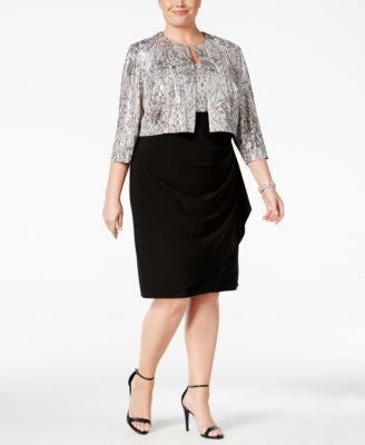 MSK Plus Size Printed Metallic Draped Dress and Jacket