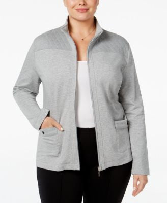 Karen Scott Plus Size Quilted-Trim Lounge Jacket, Only at Vogily
