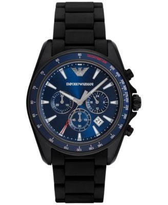 Emporio Armani Men's Chronograph Sigma Black Silicone Wrapped Stainless Steel Bracelet Watch 44mm AR