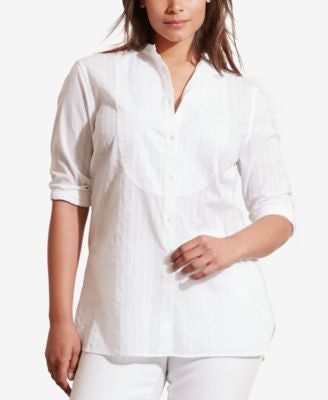 Lauren Ralph Lauren Plus Size Striped Bib-Front Shirt