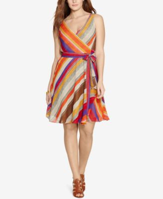 Lauren Ralph Lauren Plus Size Striped Wrap Dress