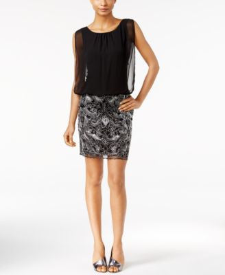 Calvin Klein Chiffon Embroidered Blouson Dress
