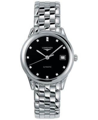 Longines Men's Swiss Automatic Flagship Diamond Accent Stainless Steel Bracelet Watch L47744576
