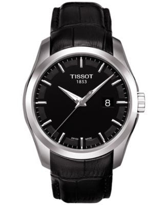 Tissot Men's Swiss Couturier Black Leather Strap Watch 39mm T0354101605100