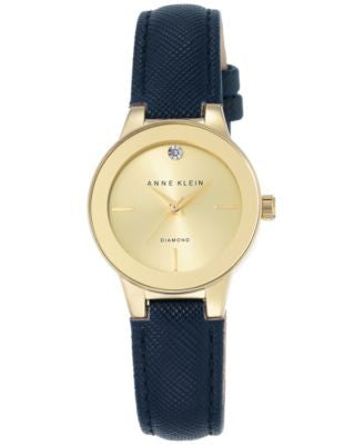 Anne Klein Women's Diamond Accent Navy Leather Strap Watch 30mm AK-2538CHNV