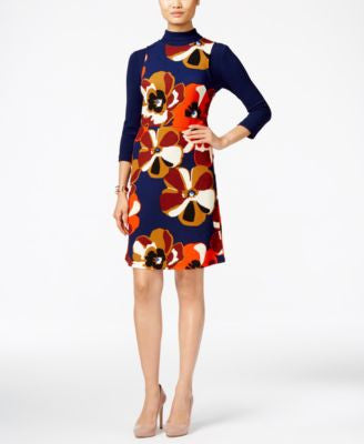 ECI Floral-Print Layered-Look A-Line Dress