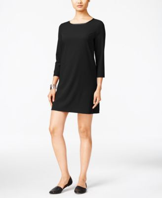 ECI Faux-Leather-Trim Shift Dress