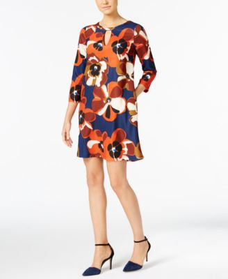 ECI Floral-Print Shift Dress