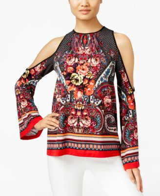 ECI Printed Cold-Shoulder Blouse