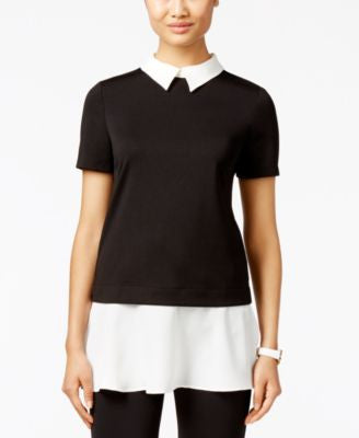 ECI Short-Sleeve Layered-Look Top